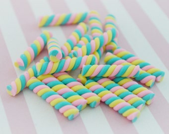 25mm Sweet Marshmallow Candy Twist Cabochons - 4 piece set