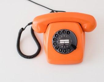 Vintage rotary phone - Orange rotary telephone - Retro phone - Old telephone - Orange phone - FeTAP phone