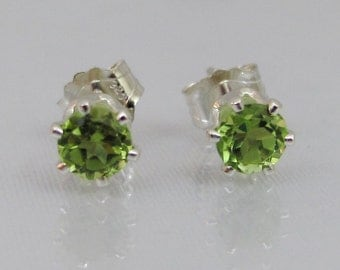 Peridot Gemstone Earrings, Sterling Silver, 4mm Peridot Gemstone, August Birthstone, Stud Earrings, Peridot Jewelry, Green Post Earrings