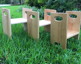 Dual height toddler stools - red maple