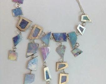 Chandelier Necklace, silver/copper Opal colours