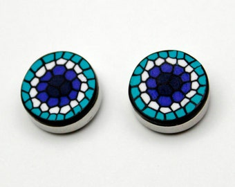White, blue and turquoise button covers