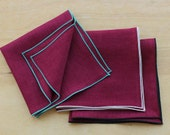 "Burgundy Linen Pocket Square, Linen Handkerchiefs, Custom Pocket Square, Wedding Apparel, Men's Handkerchief, Groom's Gift  (one) 12"""
