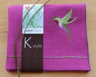 "Linen Tea Towel, Embroidered Tea Towel, Guest Towel, Purple Tea Towel, Hostess Gift, Linen Towel, 26"" X 15"" (One)"