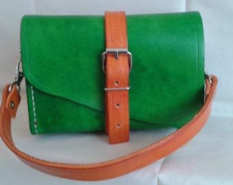 Green and orange handbag