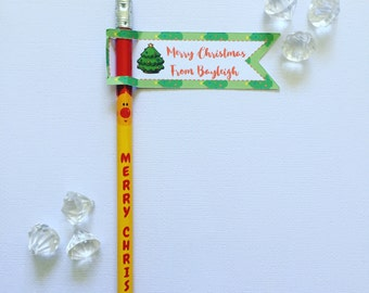 Christmas pencil flags