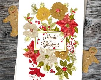 Christmas Card, Blank Holiday Card, Greeting Card, Christmas Greeting Card, Flower Greeting Card, Holiday Stationery, Card - Card No. 11