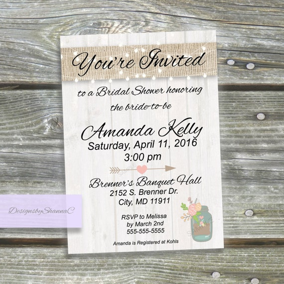 Bridal Shower Invitation - Wedding Rustic