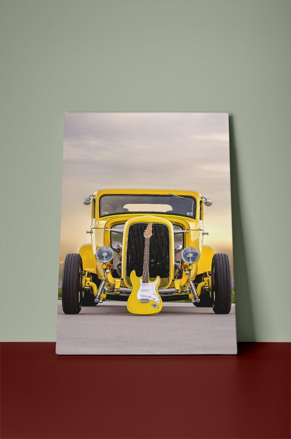 Classic Yellow Hot Rod & Guitar v1 Mirror Wrapped Hp Professional Canvas