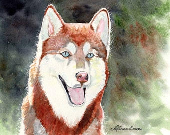 "Husky Dog Print from the original watercolor ""Red Husky"" by LeAnne Sowa"