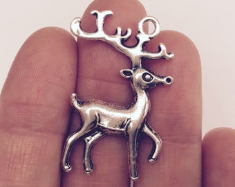 4 Christmas Reindeer Charms Antique Silver 3.6cm x 2.3cm - XMS25