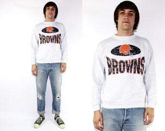 cleveland browns Pullover Crew Sweatshirt Large, Vintage 90s cleveland browns pullover hoody Large, Vintage Grey NFL sweatshirt Browns L