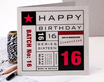 16th Birthday Card; Card For Sixteen Year Old; Sixteenth Birthday Card; GC135