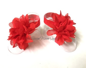 Baby Barefoot Sandals - Red Barefoot Sandals- Newborn Sandals- Toddler Sandals