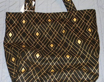 Black and Gold Casual Shoulder Tote