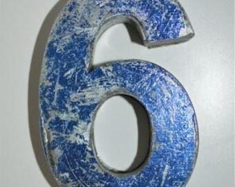 Fantastic vintage style blue 3D metal sign number 6