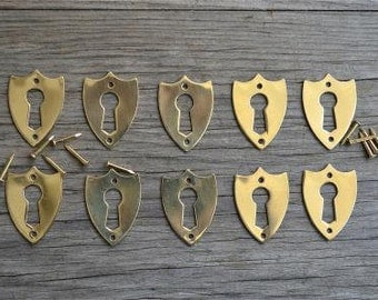 A set of 10 brass antique style Victorian furniture escutcheons SE2