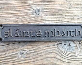 Lovely gaelic cast iron vintage slainte mahaith good health pub sign bar plaque man cave