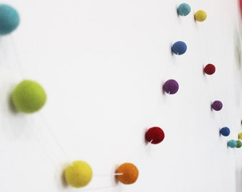 3cm Felt Ball Rainbow Garland, Rainbow Party Garland, Kids Room Decor, Playroom Decor, Rainbow Pom Pom, birthday garland, nursery decor