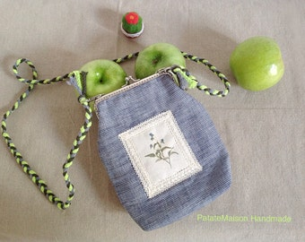 Hand sewn pouch/handbag - double-sided-plants-appel green-kids