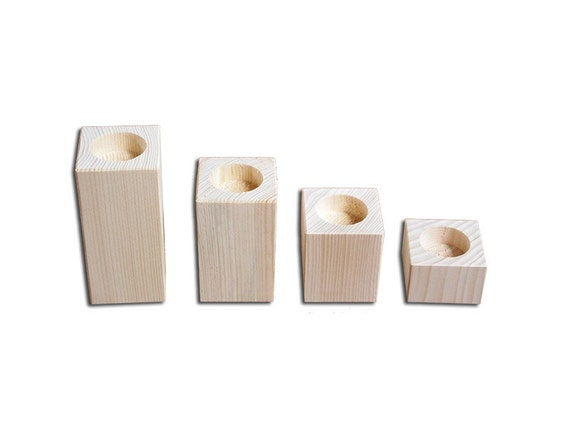 Candle holders for tealight and candles holders two in one unfinished wood candlestick from - Unfinished wood candlestick holders ...