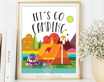 Camping Nursery Wall Art Let's go camping print printable Camping Art Print Adventure Wall Art adventure art print outdoors decor 111