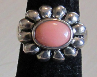 Sterling Silver and Pink Coral Ring Size 5 1/4