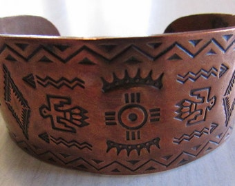 Copper Cuff Bracelet with Stamped Indian Symbols  Harvey Era