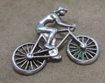 Sterling Silver Bicyling Girl Pendant.