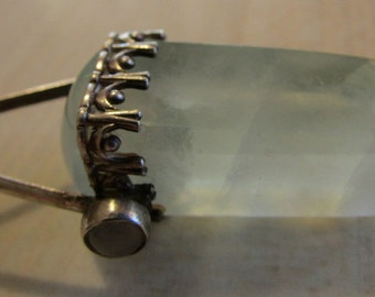 Sterling Silver Capped Aventurine Crystal Pendant