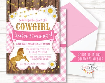 Cowgirl Birthday Invitation / Pony Birthday Invitation / Pink and Gold / Cowgirl Party Invitation / Horse Birthday Invitation / PRINTABLE