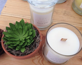 Hand poured premium soy candle with wooden wick 6oz