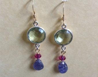 Tanzanite and Green Amethyst Earrings