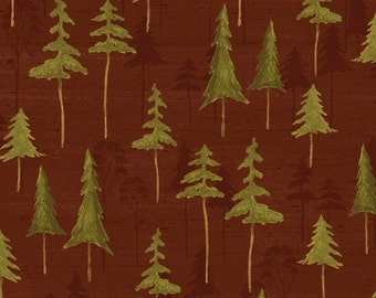 Brown Tree Silhouette Fabric Yardage. Wild Woods Windham. Nature Forest Tree Fabric. Pine Tree Fabric. Rustic Quilt Fabric for Cabin Lodge.