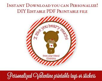 Printable Valentines, Teddy Valentine's Day Tags, Personalized Valentines Tags, Class Valentines, Editable PDF Stickers with Adobe Reader