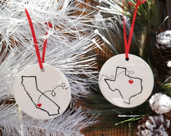 State or Country Christmas Ornament, Best Friends, Christmas Gift, Moving Away, Away from Home, Long Distance Relationship, Army Gift
