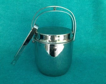 """Dura-Ware Stainless Steel Double Walled Handled Ice Bucket With Tongs Made in China Contemporary 9 3/4"""" Tall"""