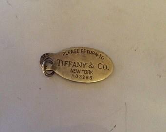 Tiffany New York sterling silver dog tag pendant