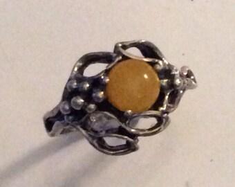 Stunning Art Nouveau Silver Butterscotch Amber Ring