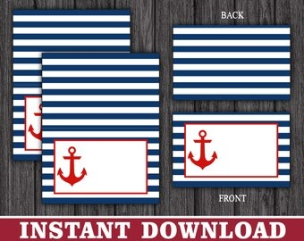 Nautical Tent Cards - Anchor Buffet Cards - Food Labels - Place Cards - Printable Digital File - INSTANT DOWNLOAD