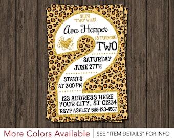 2nd Birthday Invitation - Cheetah Second Birthday Invitations