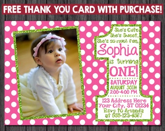 Pink and Green First Birthday Invitation with Free Thank You Card - 1st Birthday Invitation