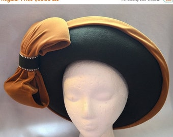 SALE Vintage Bellini Ladies' Hat - 1960s, Bollman Wool, Green and Yellow