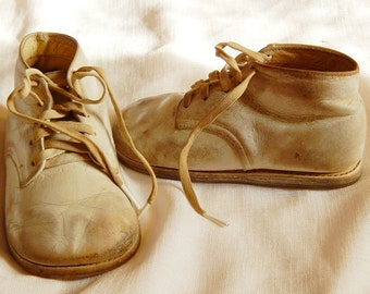Vintage Children's Shoes - Buster Brown, White Leather, 1950s