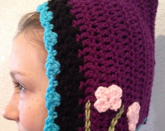 Adorable Ana Frozen Crochet Hat with Braided Ties ~ Crocheted Frozen Hat ~ Ana Hat - Ana Cap ~ Anna Frozen Snow Queen Hat