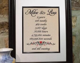 Ninth Anniversary Gift - Personalized Burlap Art - Love Anniversary Gift - Gift for Wife and Husband - Bridal Shower - Wedding - (ana107-4)