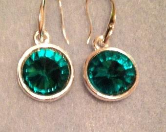 Swarovski green crystal silver plated pierced earrings