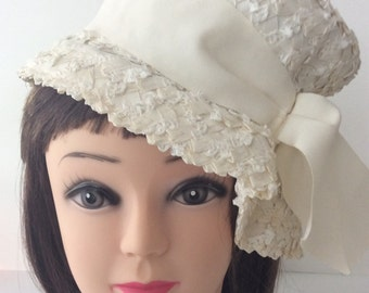 Vintage Ivory Pill Box Hat, Pliable/Soft Straw, with Matching Bow, Union Made