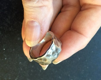Hammered Sterling Ring -- 331