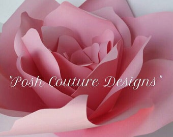 Giant Paper Rose/ Giant Paper Flower/ Paper Flower Template/ Paper Flower Kit/ Wedding Backdrop /Bridal Wall Decoration/ Gifts For Her